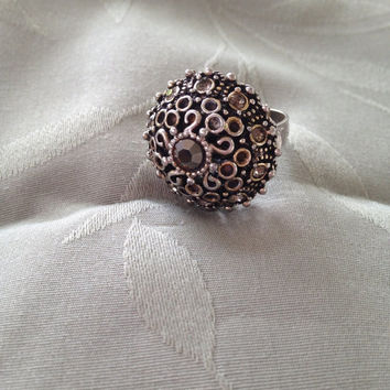 1970sTopaz AB Scrolled Dome ring Pave Chaton Antique Gold Tone