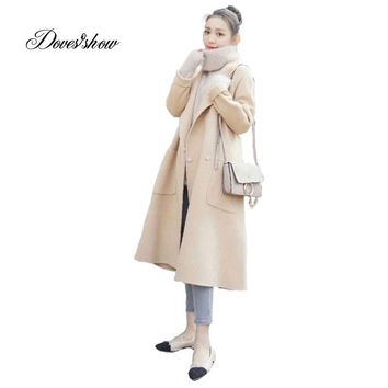 New Winter Jacket Women Warm Wool Coat Double Breasted Cocoon Cashmere Coat Outwear Blends Jaqueta Feminina Female Jacket Trench