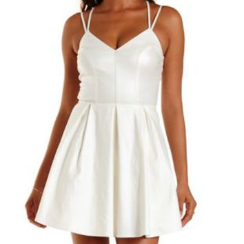 White/Silver Strappy Shimmer Skater Dress by Charlotte Russe