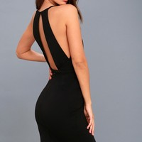 Elin Black Backless Midi Dress