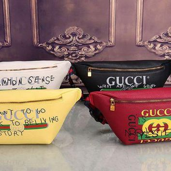 ONETOW Gucci' Women Chest Bag Fashion Personality Casual Graffiti Letter Pattern Single Shoulder Messenger Bag Waist Bag