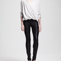 Render Crossover Tab Blouse and Stretch Leather Skinny Pants
