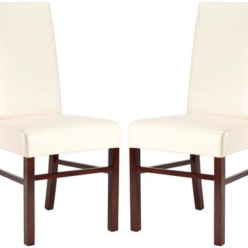 Classic Side Chair Cream Leather (Set Of 2) Flat Cream