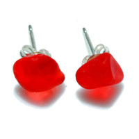 Red Sea Glass Post Earrings OOAK Sterling Silver by SeaglassReinvented