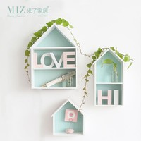 Miz Home 1 Piece Mint Green House Shape Storage Board Creative Home Decoration Wooden Shelf Natural Style Cute Small House
