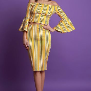 Striped Bell Sleeve Crop Top With High Waisted Skirt Set