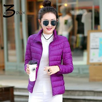 XMY3DWX Women high-end Pure color to keep warm 90% White duck down down jacket/femininity stand collar Slim fit Down coat S-XXXL
