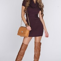Plum Cowl Neck Button Straps Sexy Sweater Dress