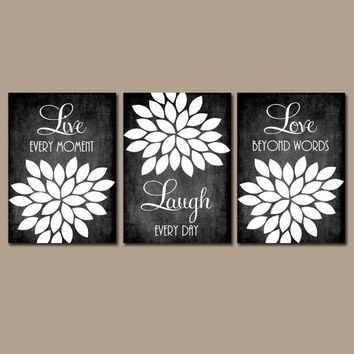 Live Laugh Love Wall Art, Farmhouse Kitchen Home Decor, Chalkboard Quote Kitchen Wall Art, Bedroom Wall Decor, CANVAS or Prints, Set of 3