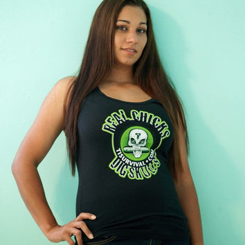 Real Chicks Dig Skulls - Women's Racerback Tank Tops