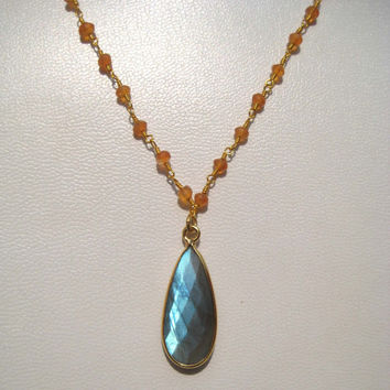 24kt. Gold Plated Carnelian Gemstone Faceted Beads Necklace with Labradorite Bezel Pendant ,18 inches long , gemstone beaded chain necklaces