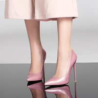 Patent Leather Pointed Toe Spike Heel High Heels Wedding Shoes 5972