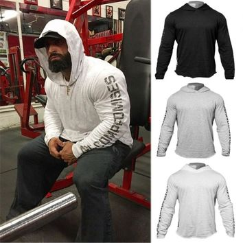 PHANTEEN Muscle Building exercise Fitness GASP Thin Long Sleeve men's Sweatershirts whit hoodies Tights Stretch Large Size