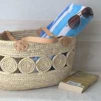 Vintage Woven Grass French Market Basket with Rosettes and Leather Handles
