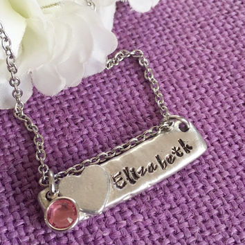 Name necklace - Name bar necklace - Birthstone name necklace - Pewter necklace - Personalized jewelry - Hand stamped name necklace
