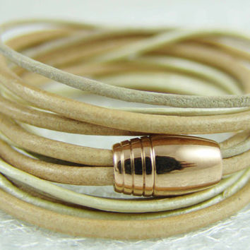 Wrap bracelet leather sand beige pearl white stainless steel Rose Gold - toasted almond - womens warp bracelet