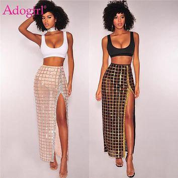 Adogirl Two Piece Set Women Crop Tank Top Sequins High Slit Maxi Dress Sexy Party Club Suit Summer Outfits Female Costumes