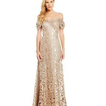 Tadashi Shoji Off-The-Shoulder Sequin Lace Gown | Dillards