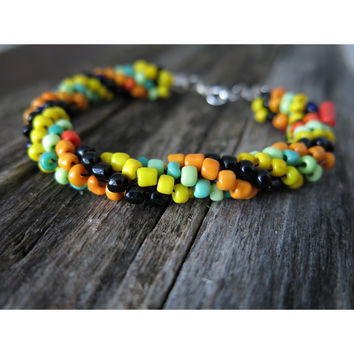 Rigid - Kumihimo Beaded Rope Bracelet - Black Yellow Green Orange