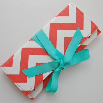 Coral Chevron Stripe Clutch with Tiffany Blue SALE by ao3designs
