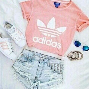 Adidas Sexy Short Shirt Crop Top Tee