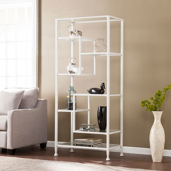 Southern Enterprises Jaymes White Metal And Glass Asymmetrical Etagere Hz4774 |