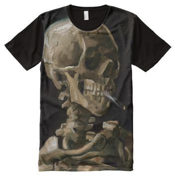 Skull with Burning Cigarette Vincent van Gogh Art All-Over Print T-shirt