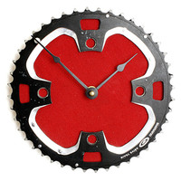 Red Recycled Bicycle Cog Wall Clock