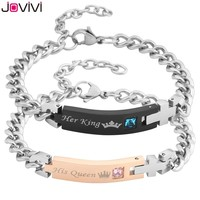 """2017 Latest Design JOVIVI 1-2pcs Men Women Stainless Steel CZ """"Her King & His Queen"""" Couples Bracelets Matching Set in Gift Box"""