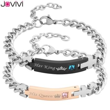 "2017 Latest Design JOVIVI 1-2pcs Men Women Stainless Steel CZ ""Her King & His Queen"" Couples Bracelets Matching Set in Gift Box"