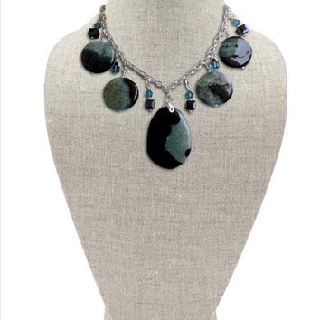Reversible Teal and Black Agate Statement Bib Necklace with Swarovski and Czech Crystal in Silver  // 18 in.
