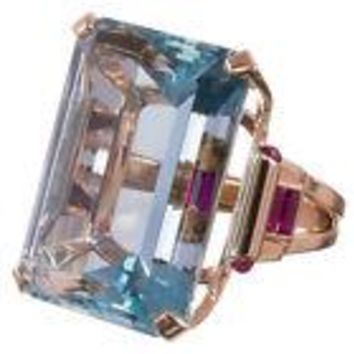 Large 10.4CT Aquamarine 925 Silver Ring Rose Gold Filled Cocktail Ring Fall 2017 Collection