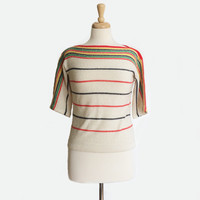1980's Bay Blanket Stripe Sweater ~ Boatneck ~ Knit Top ~ Vintage 80s