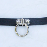 Vegan Leather Black Adjustable Choker(Pastel Goth, Kitten Play, Alternative)