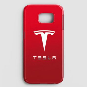 Tesla Motors Brushed Metal Logo Samsung Galaxy S7 Edge Case