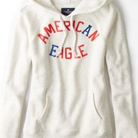 AEO Women's Signature Graphic Hoodie (Oatmeal Heather)