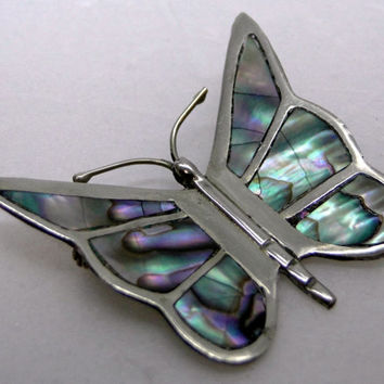 On SALE Butterfly Brooch Abalone Sterling  Signed Hecho en Mexico