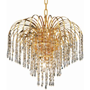 "Falls 19"" Diam Chandelier, Gold Finish, Clear Crystal, Elegant Cut"