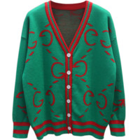 GUCCI Autumn And Winter New Fashion More Letter Long Sleeve Top Coat Women Green