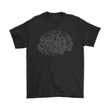 Subaru FA20 BRZ Engine Blueprint Illustration T-shirt