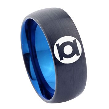 8mm Green Lantern Dome Tungsten Carbide Blue Promise Ring