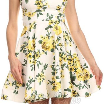 Yellow Rose Rockabilly Dress (Missy Sized)