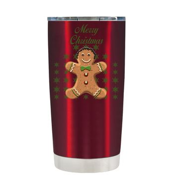 TREK Merry Christmas Gingerbread Man on Translucent Red 20 oz Tumbler Cup