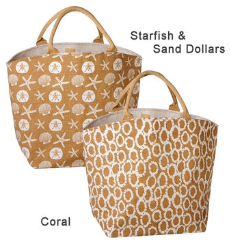 Natura Coastal Jute Burlap Beach Tote Bag 22-in with Zippered 12-in Travel Pouch