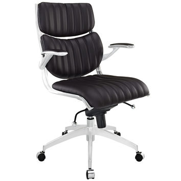 Modway Escape Faux Leather Swivel Office Chair in Brown
