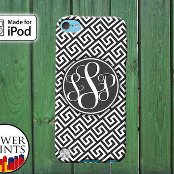 Monogram Cursive Initials Greek Pattern Gray White Grey for iPod Touch 4th Generation and iPod Touch 5th Generation Gen Plastic Rubber