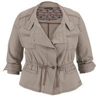Plus Size - Cinch Waist Linen Jacket - Beige