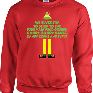 Funny Christmas Sweater Buddy The Elf Sweatshirt Xmas Present Holiday Clothes Christmas Movie Quotes Elf Clothing Pullover Hoodie - SA690