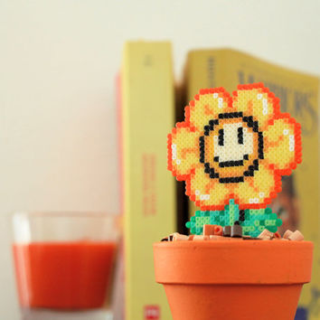Super Mario Inspired Tiny Orange Smiling Daisy. Kawaii, Cute & Colorful Flower.