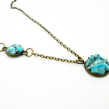 Turquoise necklace, antique bronze, resin stone necklace, round ncklace, handmade stone necklace, turquoise jewelry, pieces natural stone